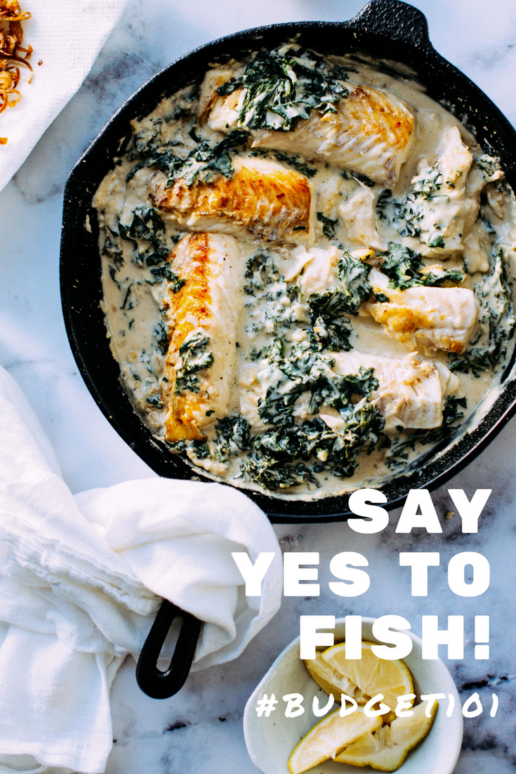 Delicious Pan Seared White-Fish in Garlicky Tahini Sauce with Kale