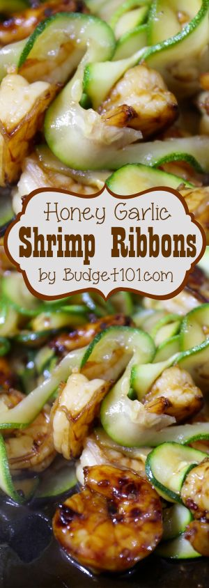 Honey Garlic Shrimp Ribbons