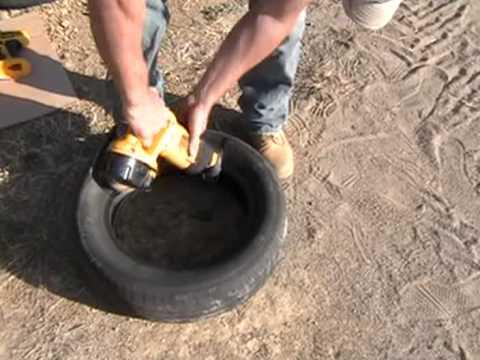 Earthship Construction, Cutting block tires