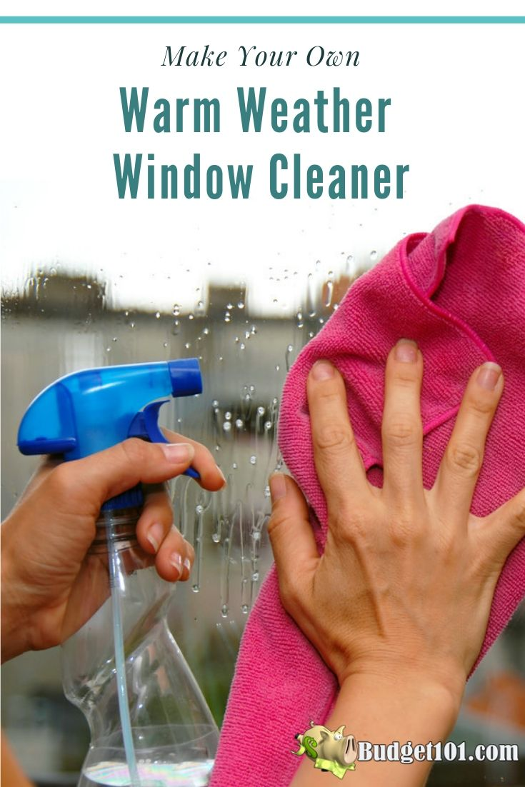 DIY 3-Ingredient Warm Weather Window Cleaner for sparkling clean streak-free windows that shine #Budget101 #MYO #DIY #Windows
