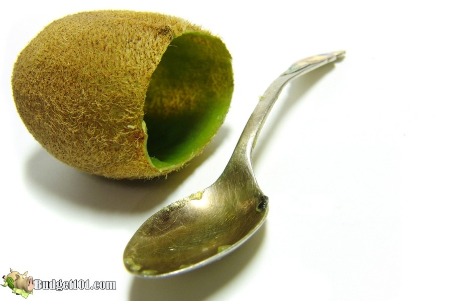 peel kiwi with spoon