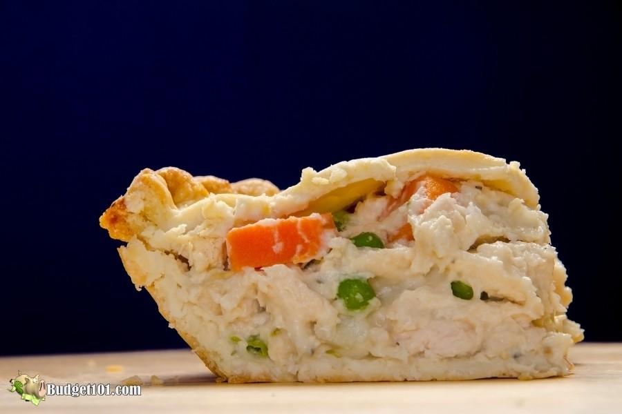 b101 slice of homemade chicken pot pie by budget101.com