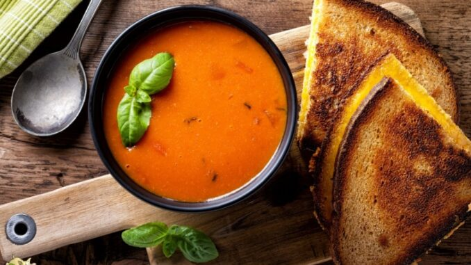 b101 tomato soup grilled cheese sandwhich