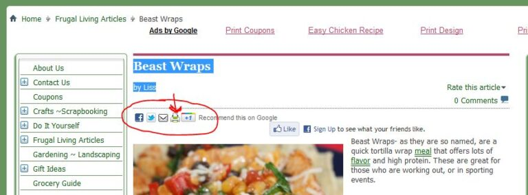 how to print articles recipes in the cms sections