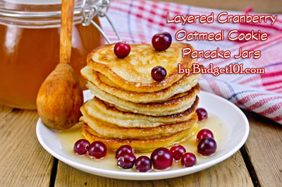 layered cranberry oatmeal cookie pancake jars