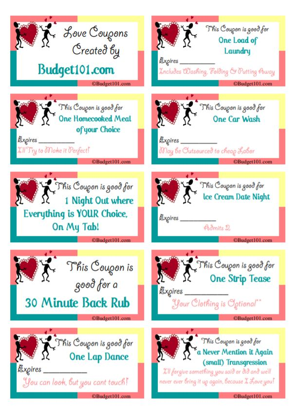 Free Printable Gift Coupons Homemade Holiday Gift Coupons