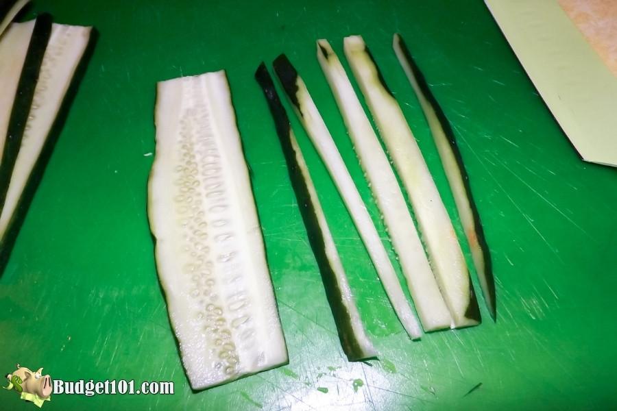 cut cucumbers into strips
