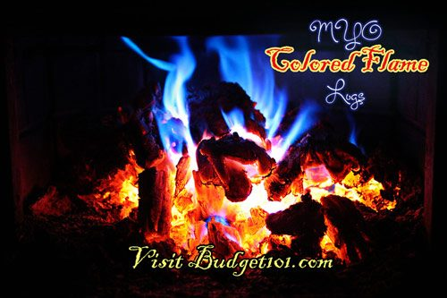 colored flame fire logs