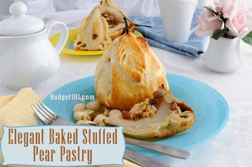 baked stuffed pear pastry