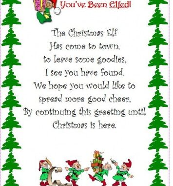 photo relating to You've Been Elfed Free Printable identified as Xmas Elf Flyer Handmade Novelty Reward Tips Key