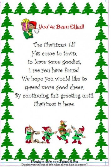image about You've Been Elfed Printable titled Xmas Elf Flyer Home made Novelty Reward Recommendations Solution