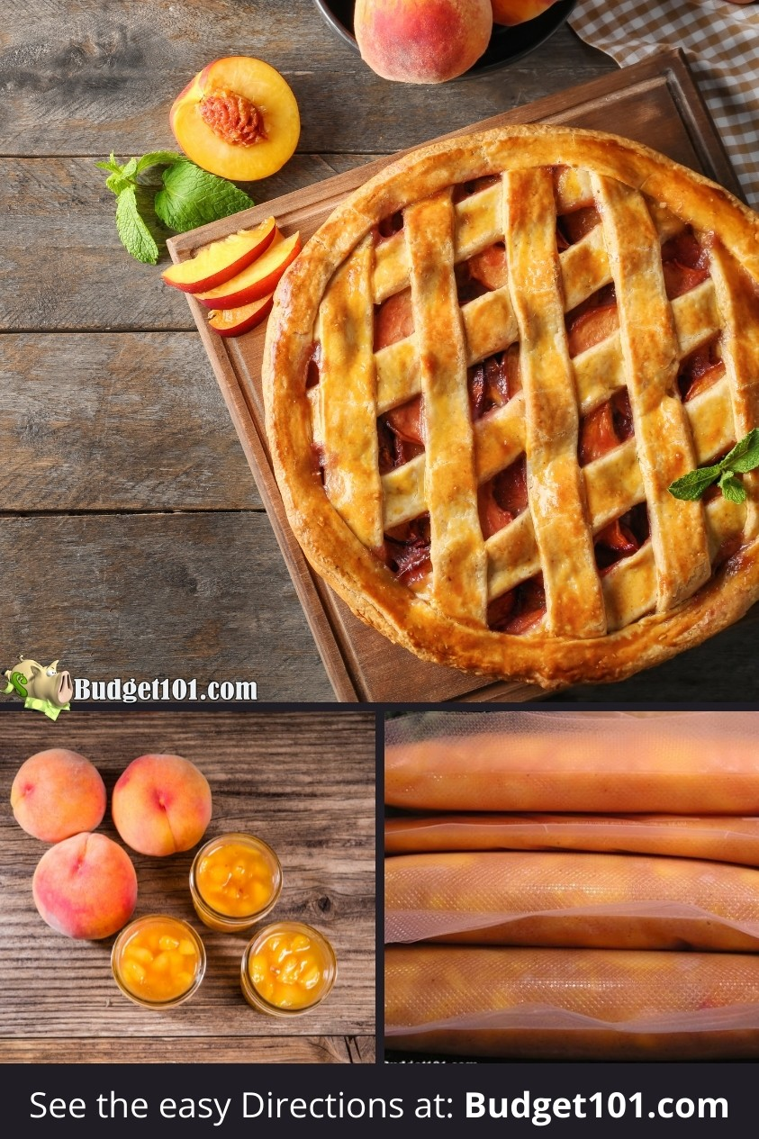 How to make your own peach pie filling and freeze it for perfect peach pie year round! #Peaches #PeachRecipes #PeachPie #MakeYourOwn #MYO #Budget101