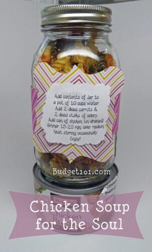 chicken noodle soup in a jar