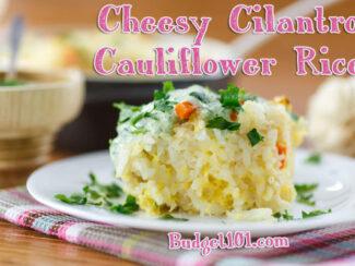 cheesy cilantro cauliflower rice casserole