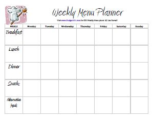 Free Printable Menu Planners Meal Planning Meal Plan