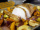 simple apple cinnamon pork loin with sweet potatoes and onions