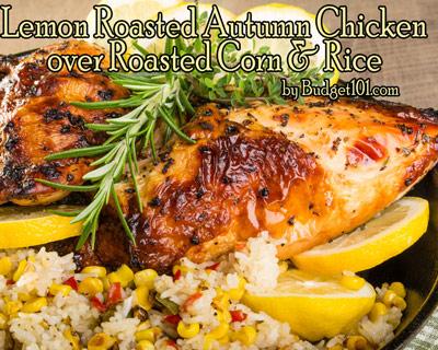 lemon-chicken-over-roasted-corn-rice