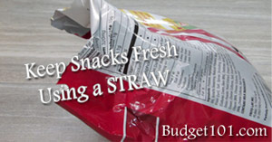 keeps snacks fresh using repurposed straws