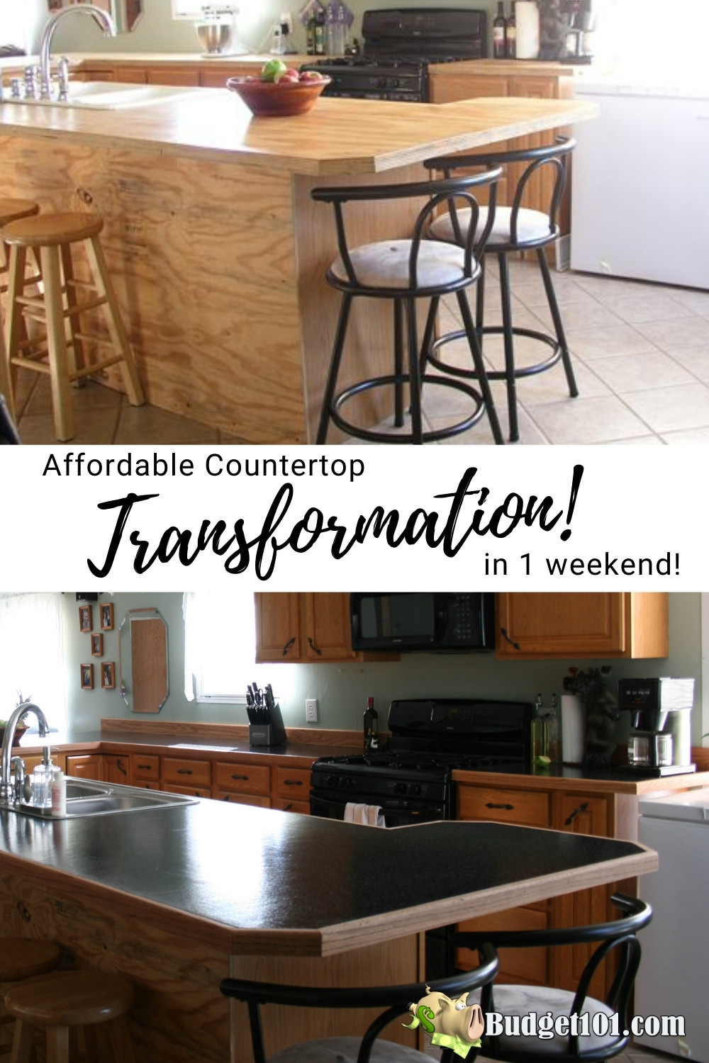 If you're looking for an affordable way to make a huge improvement in the look and feel of your kitchen, read on. We share how we transformed our kitchen countertops from plywood to granite using simple products that cost less than $300 total! #Budget101 #DIY #CountertopTransformation #KitchenMakeover #Remodel #ChicRemodel #DirtCheap