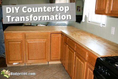 diy countertop transformation dirt cheap kitchen makeover