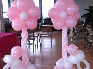 baby shower flower balloon columns