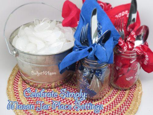 4th of july mason jar place settings