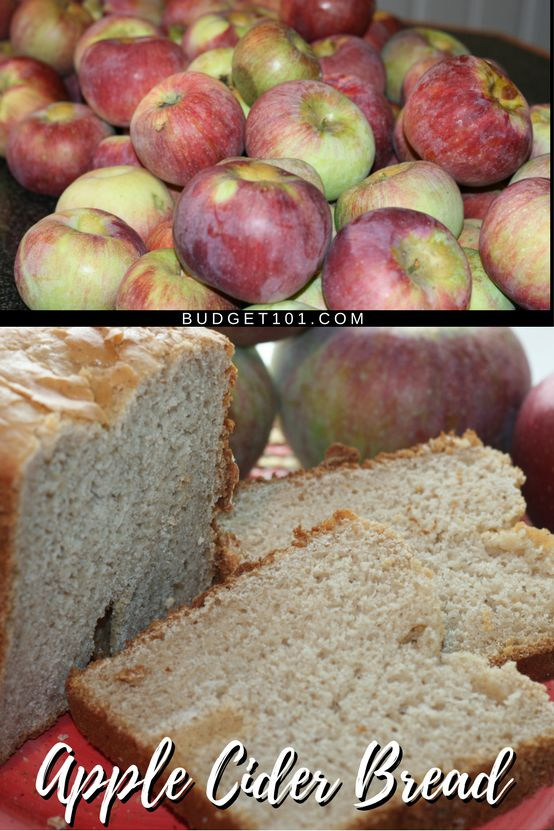 A hearty loaf of Apple Cider bread, lightly sweetened with honey, enhanced with a touch of cinnamon and bits of apple. #Apples #AppleCider #Bread #FromScratch #Budget101