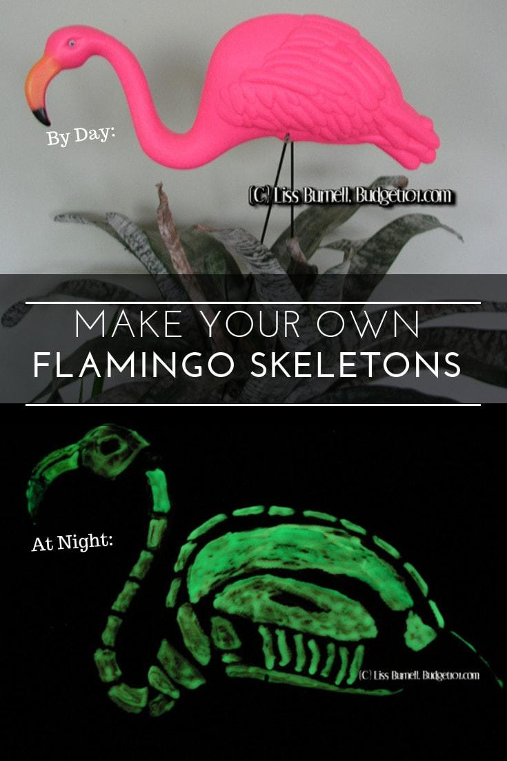 Transform your yard into a Pink Flamingo Skeleton boneyard with this fun, easy DIY Halloween craft! #Halloween #flamingo #glowinthedark #DIY