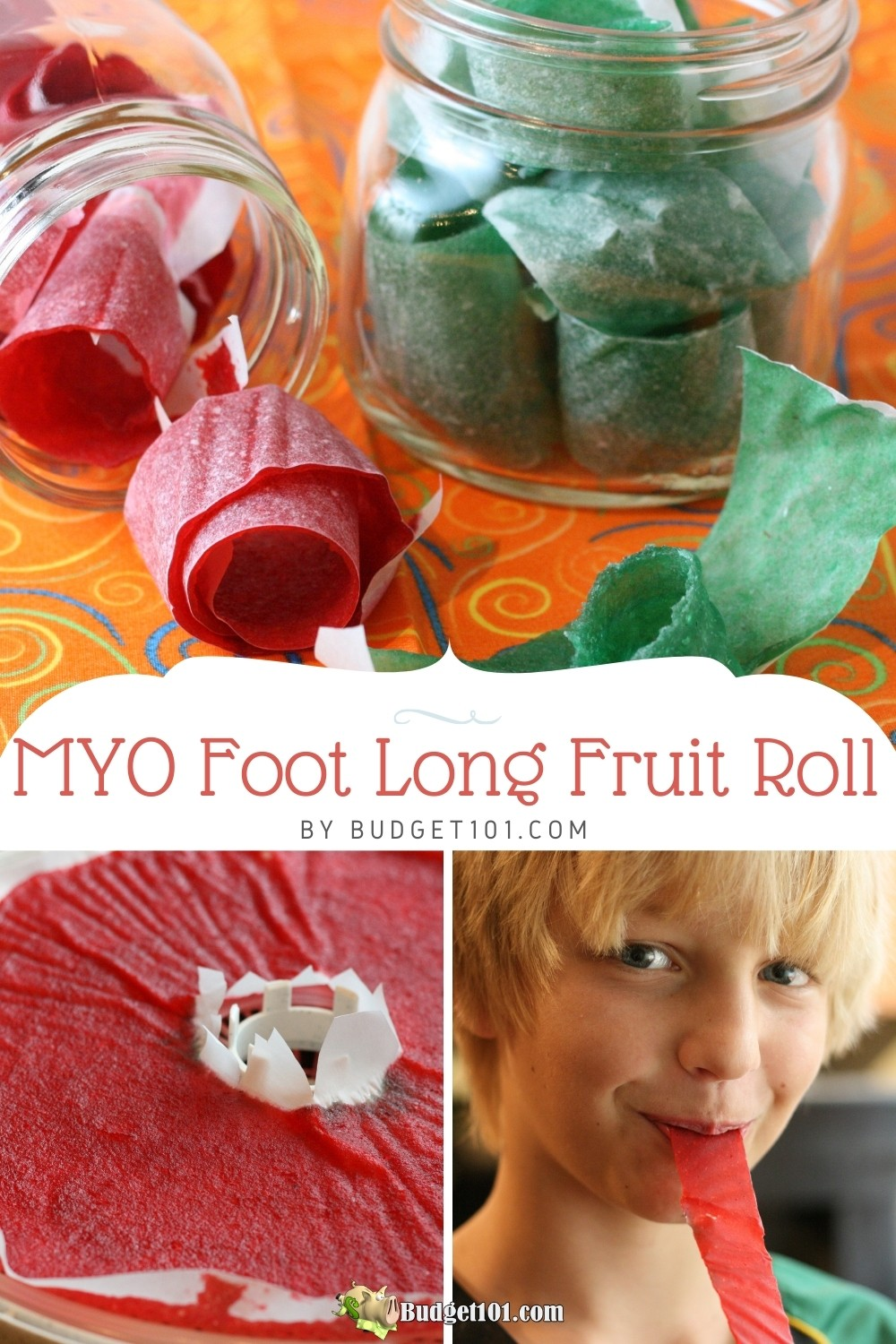 Make Your Own foot long fruit roll ups budget101.com! Just 2 easy ingredients, make them in a food dehydrator or in the oven. #FruitRolls #MYO #MakeYourOwn #FromScratch #DirtCheap #Munchies #Budget101 #FoodDehydrator