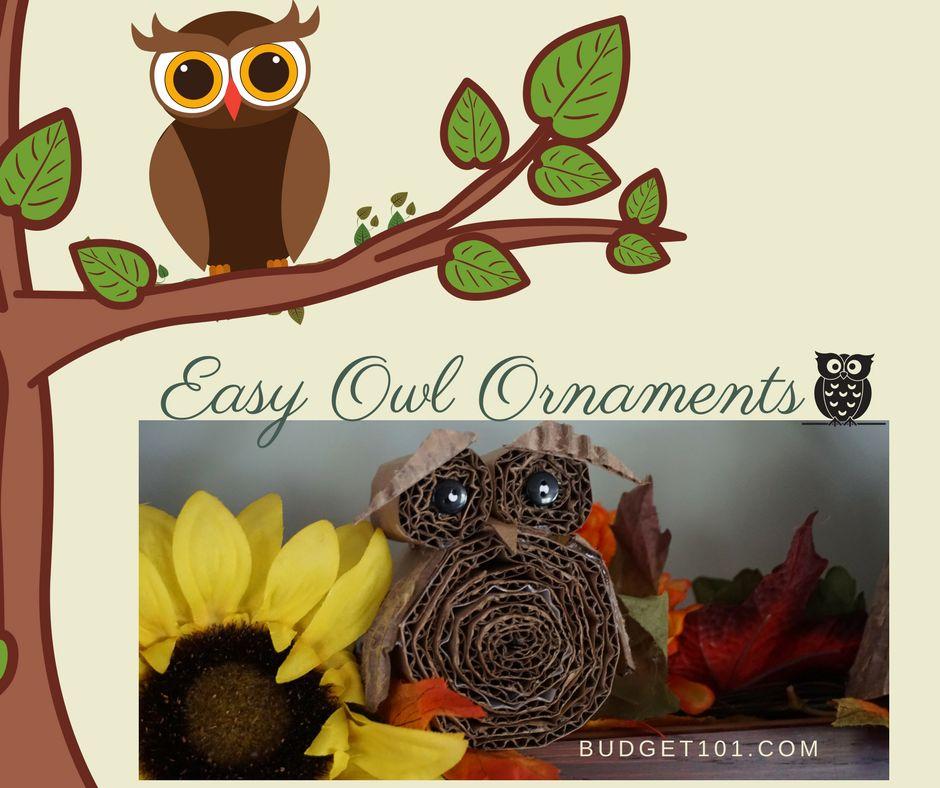 Repurposed Cardboard Owl Ornaments