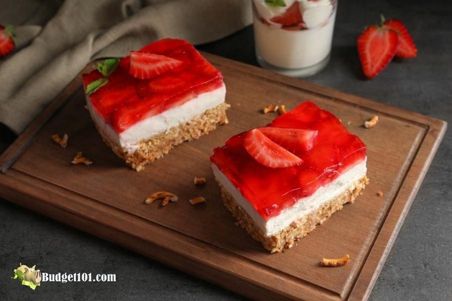 slice strawberry pretzel salad budget101