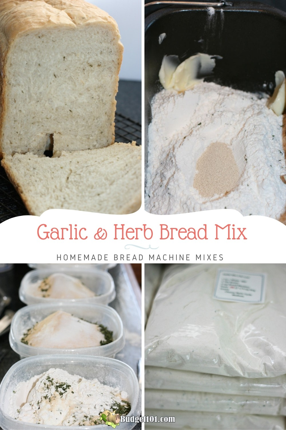 Make your own Garlic & Herb Bread Mix for Bread Machines- this delicious, simple recipe makes creating homemade flavorful garlic bread a breeze! #GarlicBread #BreadMachineMixes #MYO #breadmixes