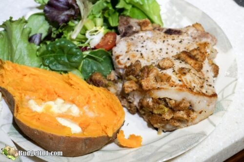 herb stuffed pork chop dinner