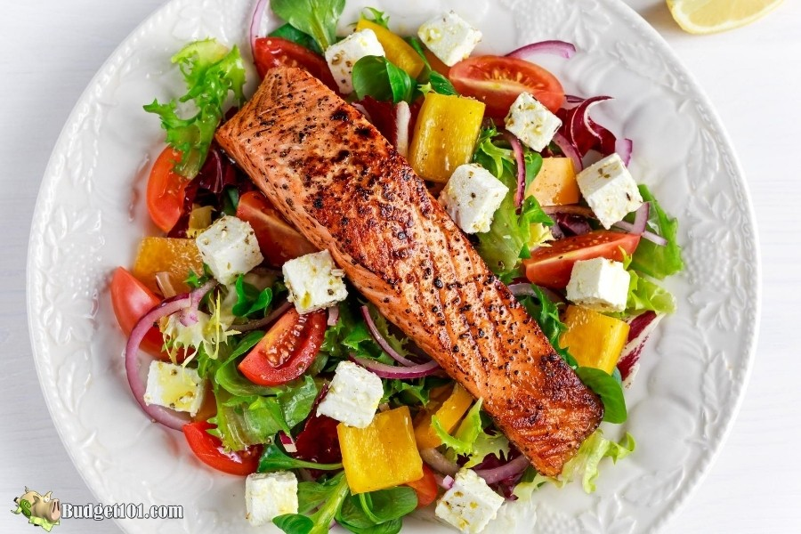 Maple Glazed Grilled Salmon over salad