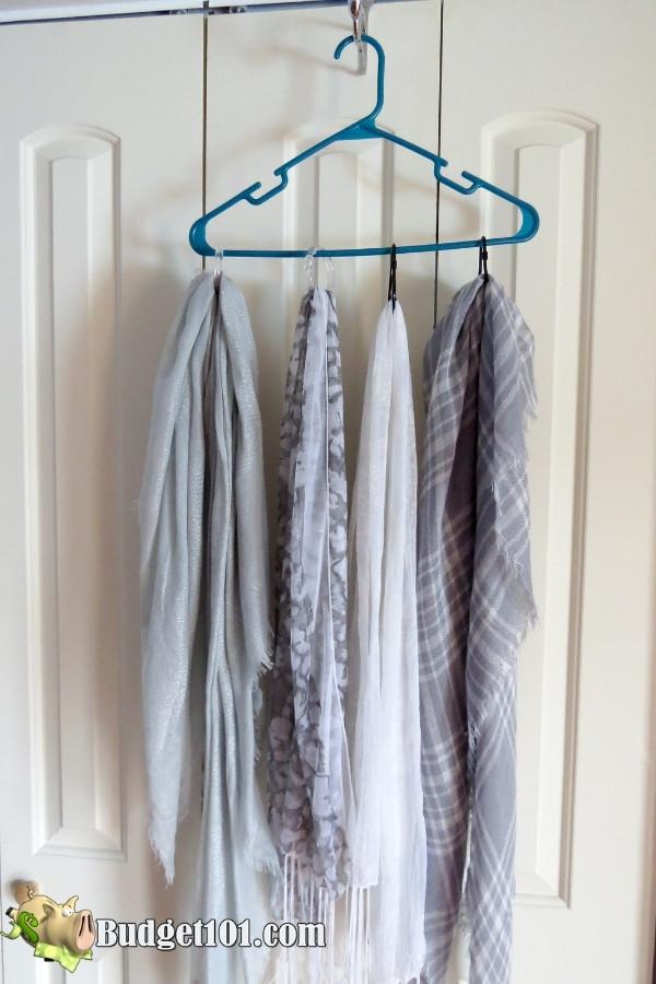 repurpose shower curtain hooks hang scarf