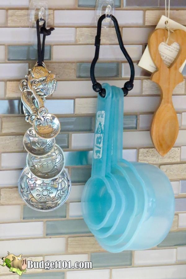 repurpose shower curtain hooks organize kitchen