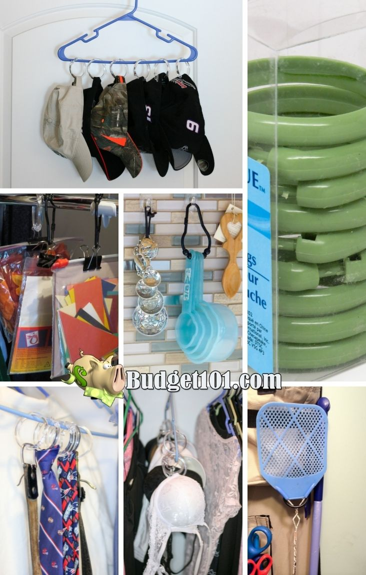 15+ Awesome shower curtain hook ideas to help organize your home #Budget101 #repurpose #showercurtainhooks #upcycle #DIY