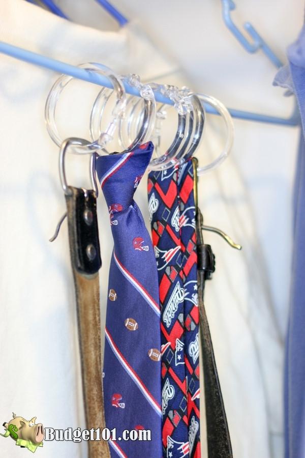 shower curtain hook ties belt organizer