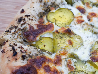 dill pickle pizza with garlic sauce