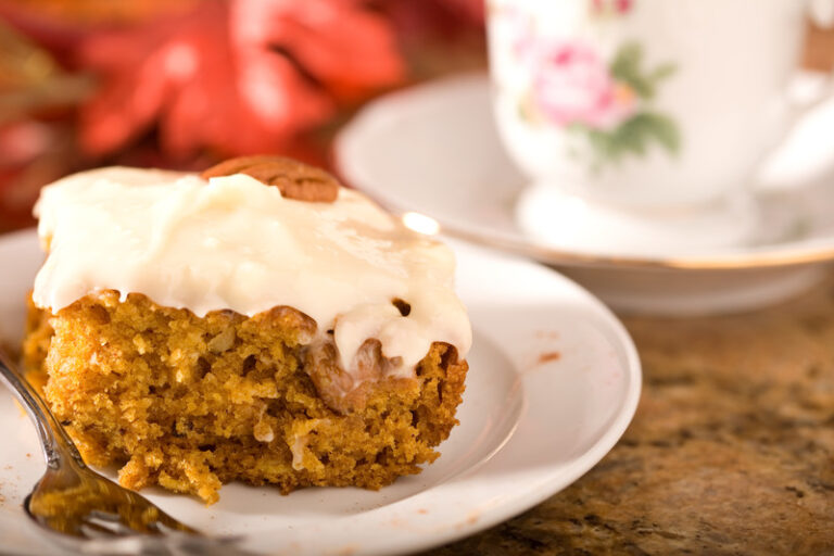 one bowl pumpkin squares with cream cheese icing