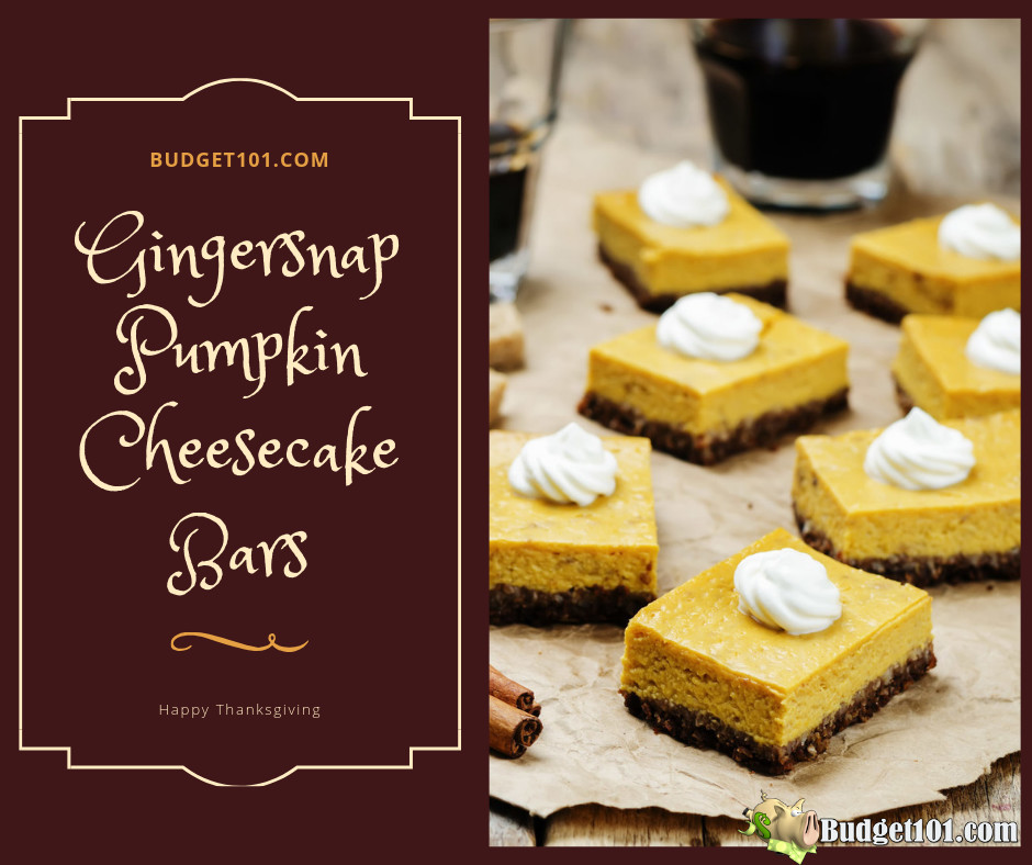 Gingersnap Pumpkin Cheesecake Bars By Budget101 Com