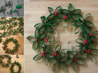homemade christmas wreath out of recycled materials