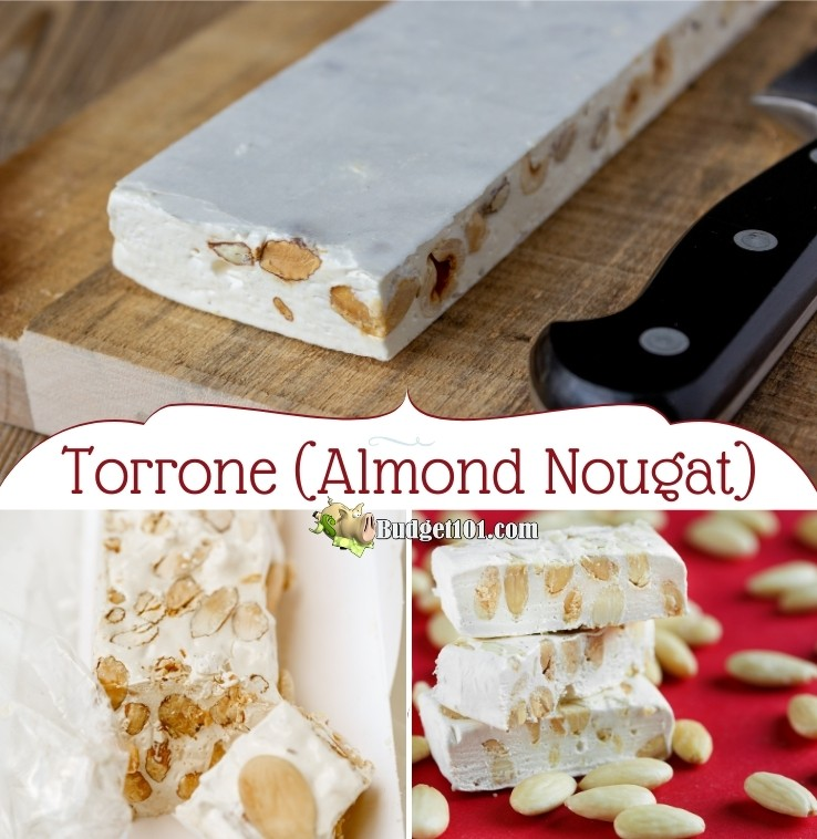 This delicious chewy nougat candy is inspired by the amazing flavors of Torrone, an Italian candy traditionally made with honey, almonds, and eggs. This version is made with slightly less expensive ingredients, but offers a delectable flavor! #Torrone #AlmondNougat #ChristmasCandy #MYO #Budget101