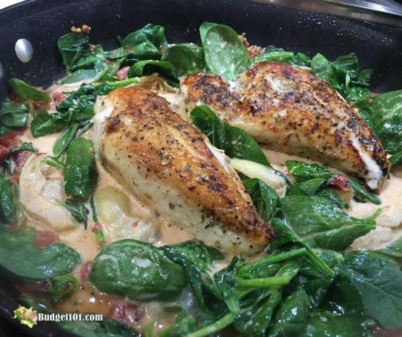 Artichoke Spinach Skillet Chicken