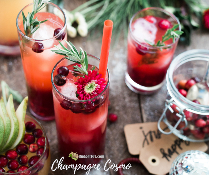 champagne cosmo new years cocktail