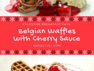 valentine breakfast idea belgian waffles with cherry sauce