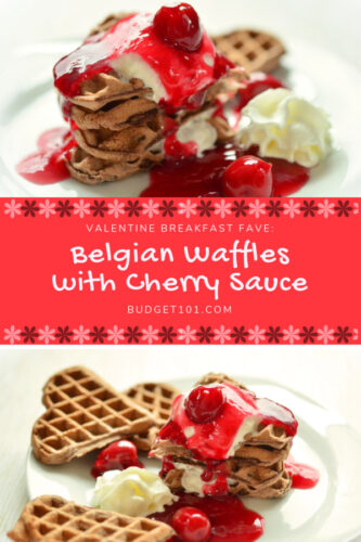 valentine breakfast idea belgian waffles with cherry sauce