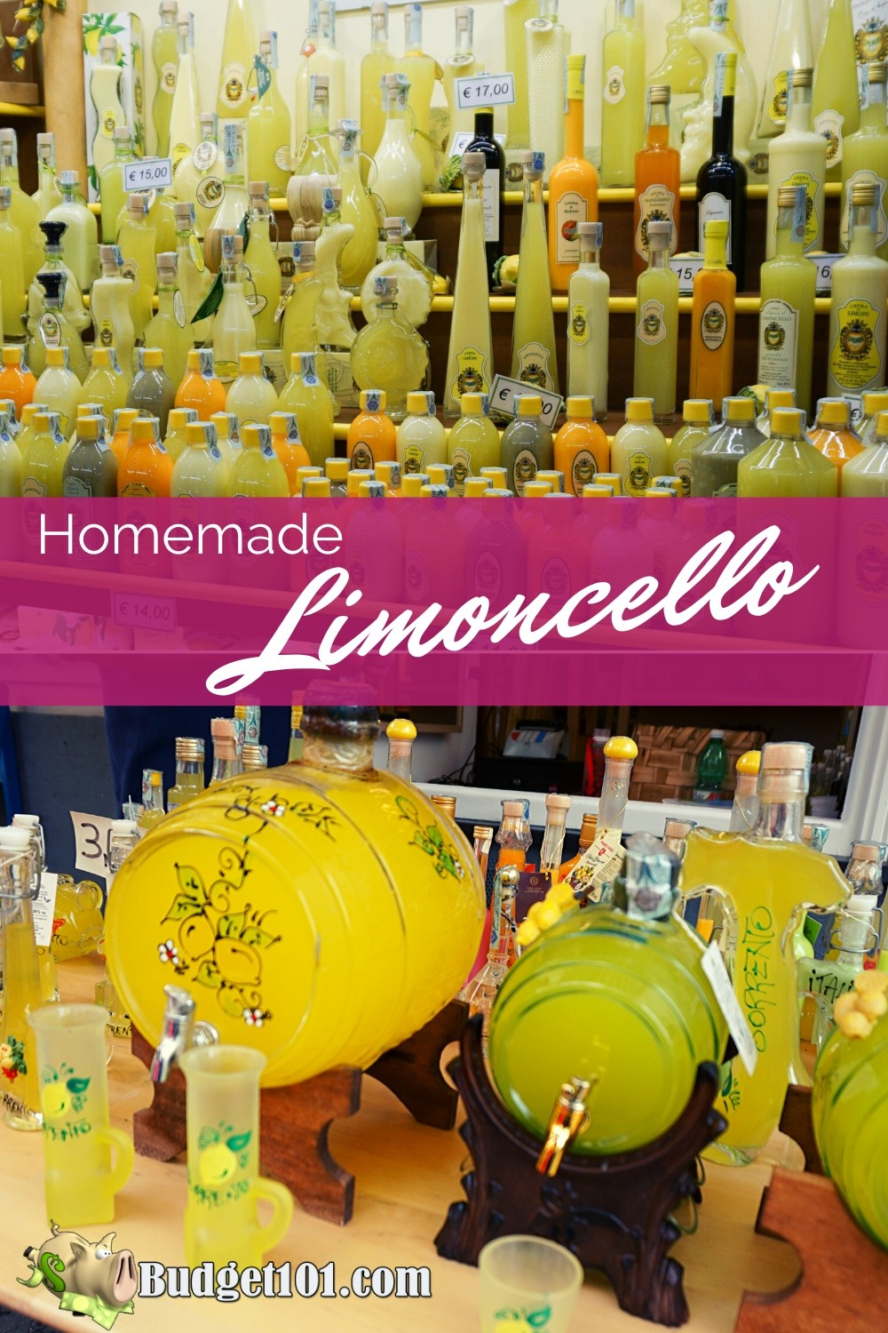 Originally an Italian Lemon Liqueur produced in Southern Italy, Limoncello is a smooth vibrant flavored apertif. Making your own Homemade Limoncello is easy! #Budget101 #Italy #Limoncello #MYO