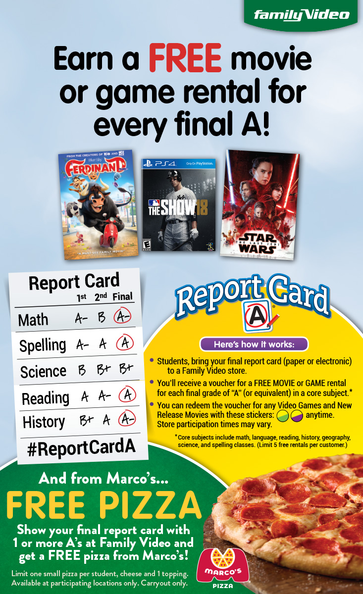Report Card Freebies Free Pizza