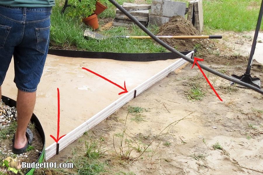 diy slate walkway secure edging rebar